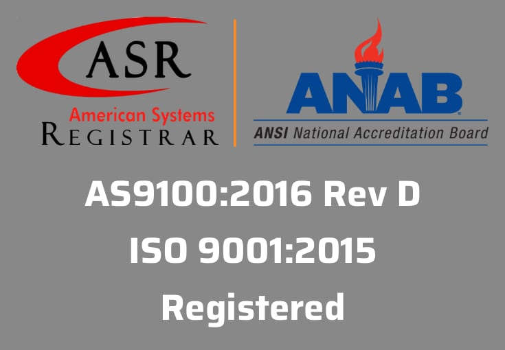AS9100:2016 and ISO 9001:2015 certified company